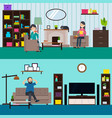colorful living room horizontal banners vector image