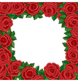 Frame of red roses isolated on white background vector image