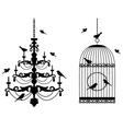 Vintage birdcage and chandelier vector image