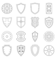 Shield frames icons set outline style vector image