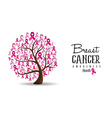 Breast Cancer awareness concept ribbon tree design vector image vector image