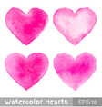 Set of Colorful Watercolor Pink Hearts vector image