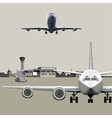 airfield with planes vector image