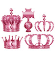 Different design of crowns in pink color vector image