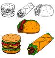 burrito taco hot-dog hand drawn isolated on white vector image