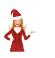 christmas woman with santa hat and red coat vector image