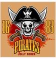 Pirate Skull in black hat with Cross Swords vector image
