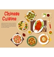Popular dishes of chinese cuisine icon flat style vector image