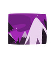 snowy mountains at night time beautiful landscape vector image