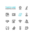 Law and Justice - Thick Single Line Icons Set vector image