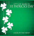 hanging shamrock st patricks day card in format vector image