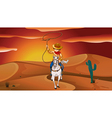 A boy holding a rope while riding a horse vector image vector image