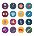 sixteen flat medicine icons vector image