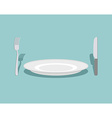 Cutlery knife and fork plate On a green background vector image