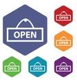 Open icon colored hexagon set vector image