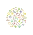 Fruit and vegetable logo with line icons vector image