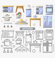 kitchen furniture set in flat style vector image