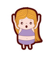 line color girl wth long hair and scared face vector image