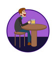 man sitting in the bar and drinking a beer vector image