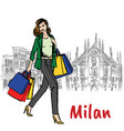 woman and milan cathedral vector image
