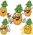 set cartoon character - Happy pineapple vector image