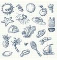 summer icon set sketch style vector image vector image
