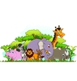 animal cartoon with tropical forest background vector image