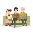 Sitting Females on Couch with Gadgets vector image
