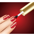 woman applying red nail polish on fingers vector image