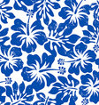 Tropical weathered blue hibiscus seamless pattern vector image