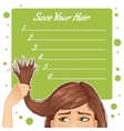 Background with girl who has problem of split ends vector image vector image