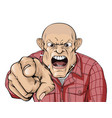 angry man with shaved head shouting and pointing vector image