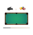billiard balls in rack cue chalk and pool glove vector image