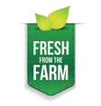 Fresh from the Farm ribbon with leaf vector image