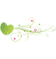 Green floral heart vector image