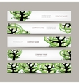 Set of horizontal banners with green tree vector image