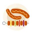 Smoked salami sausage isolated vector image