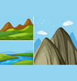 three mountain scenes with river and field vector image