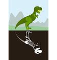 Tyrannosaurus in nature Skeleton in ground soil vector image
