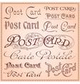 Vintage postcard lettering vector image vector image