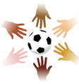 Hands around a soccer ball vector image vector image
