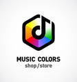 Music colors logo template Colorful hex sign vector image