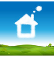 Abstract House From Clouds In Blue Sky And Green vector image