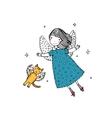 Cartoon angel and cat vector image