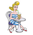 Cartoon image of pin up painting of a retro 1950s vector image