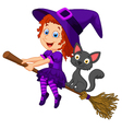 Cartoon young witch flying on her broom vector image