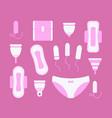 feminine hygiene flat icons set vector image