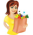 Rad haired girl with the products vector image