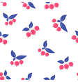 Seamless pink berry pattern blue leaves on white vector image