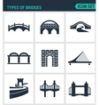 Set of modern icons Types of bridges vector image